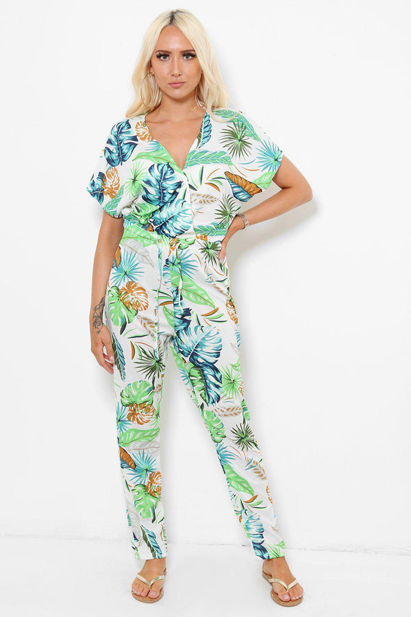 Green Palm Leaves Print Jumpsuit-SinglePrice