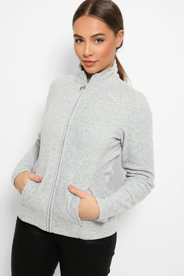 Light Grey High Neck Zip Fleece Jacket