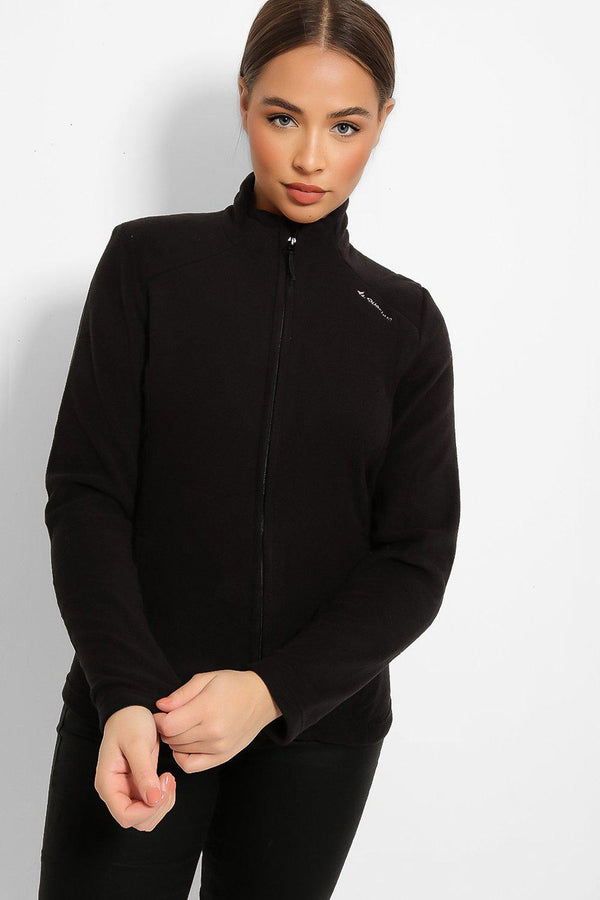 Black High Neck Zip Fleece Jacket-SinglePrice