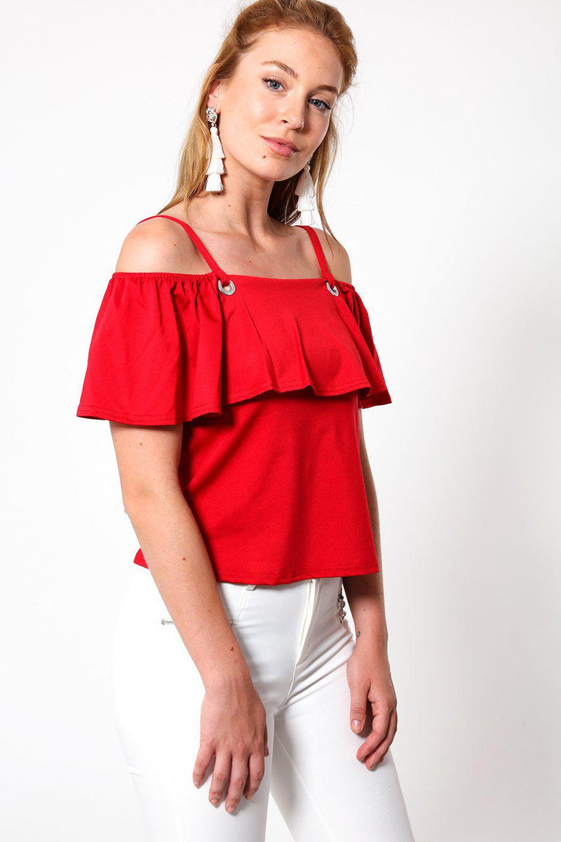 Open Shoulders Red Frill Top - SinglePrice
