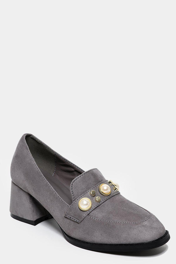 Flared Heel Studded Grey Loafers - SinglePrice