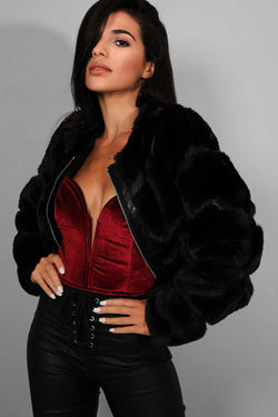 Black Faux Fur Panelled Cropped Jacket - SinglePrice