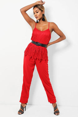 Wine Red Crochet Lace Top Cami Jumpsuit - SinglePrice