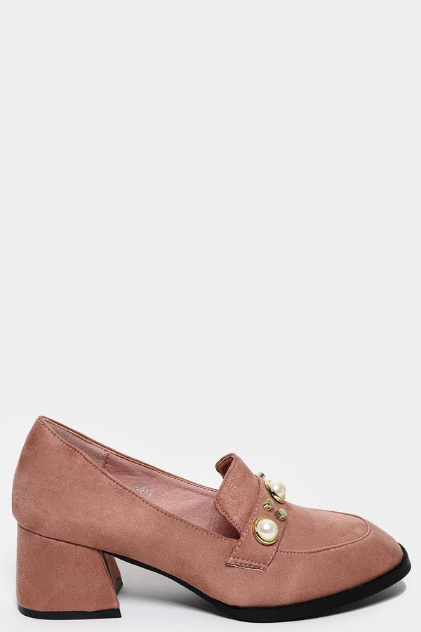 Flared Heel Studded Pink Loafers-SinglePrice