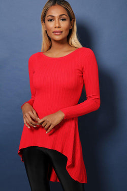 Red Dip Hem Ribbed Soft Fabric Top - SinglePrice