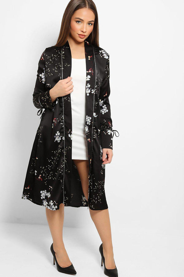 Black Satin Touch Oriental Design Dressing Gown-SinglePrice