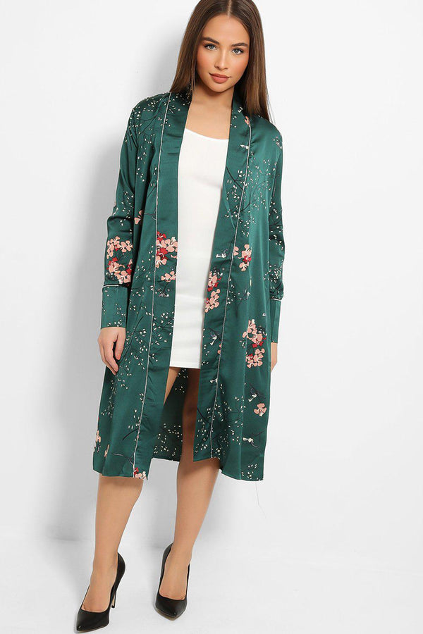 Green Satin Touch Oriental Design Dressing Gown-SinglePrice