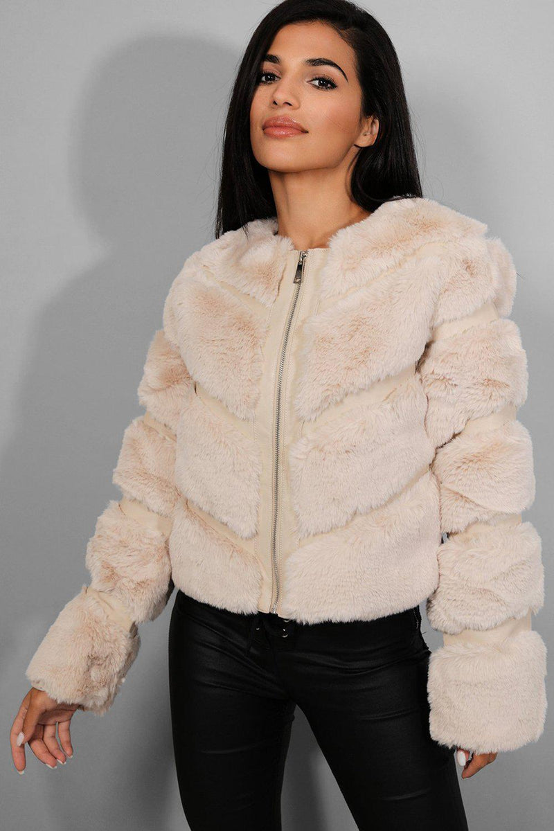 Beige Faux Fur Panelled Cropped Jacket - SinglePrice