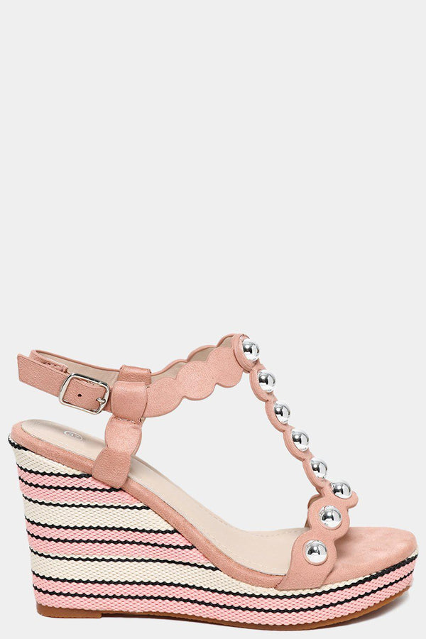 Pink Studded T-Bar Jute Wedges - SinglePrice