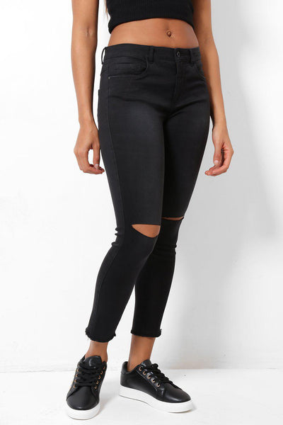 Distressed Skinny Stretch Black Denim Jeans-SinglePrice