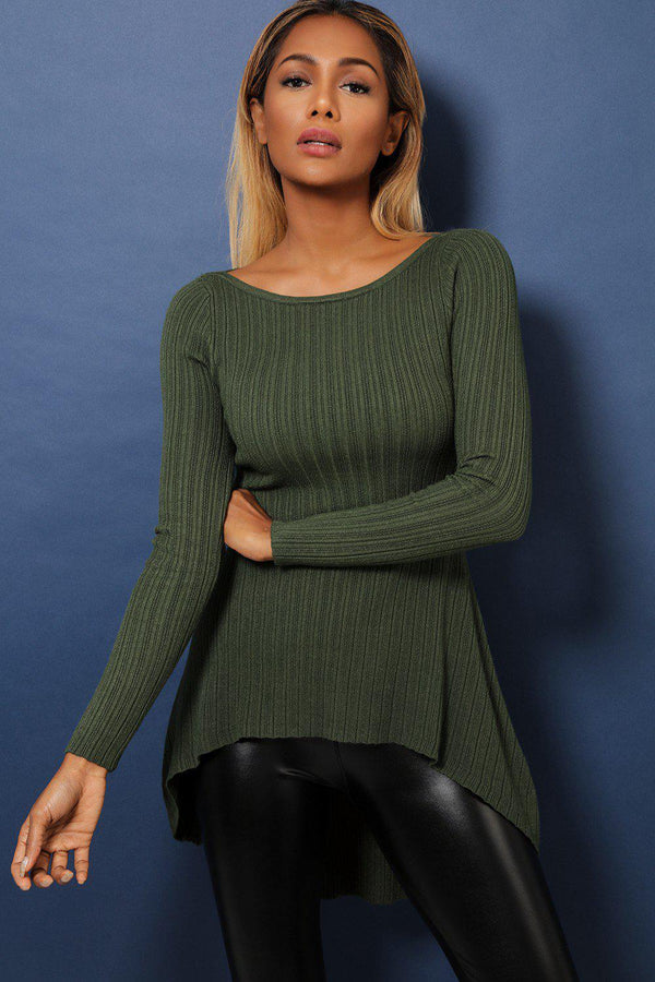 Khaki Dip Hem Ribbed Soft Fabric Top-SinglePrice
