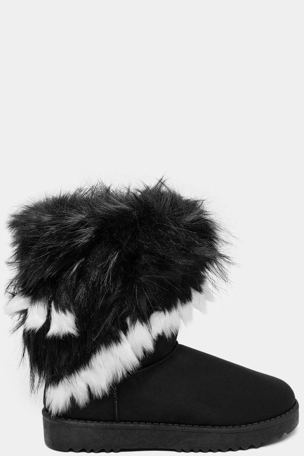 White Trim Faux Fur Black Warm Boots - SinglePrice