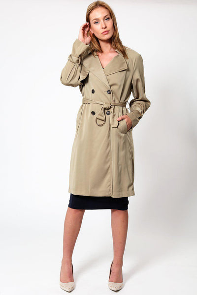 Light Double Breasted Khaki Trench Coat-SinglePrice