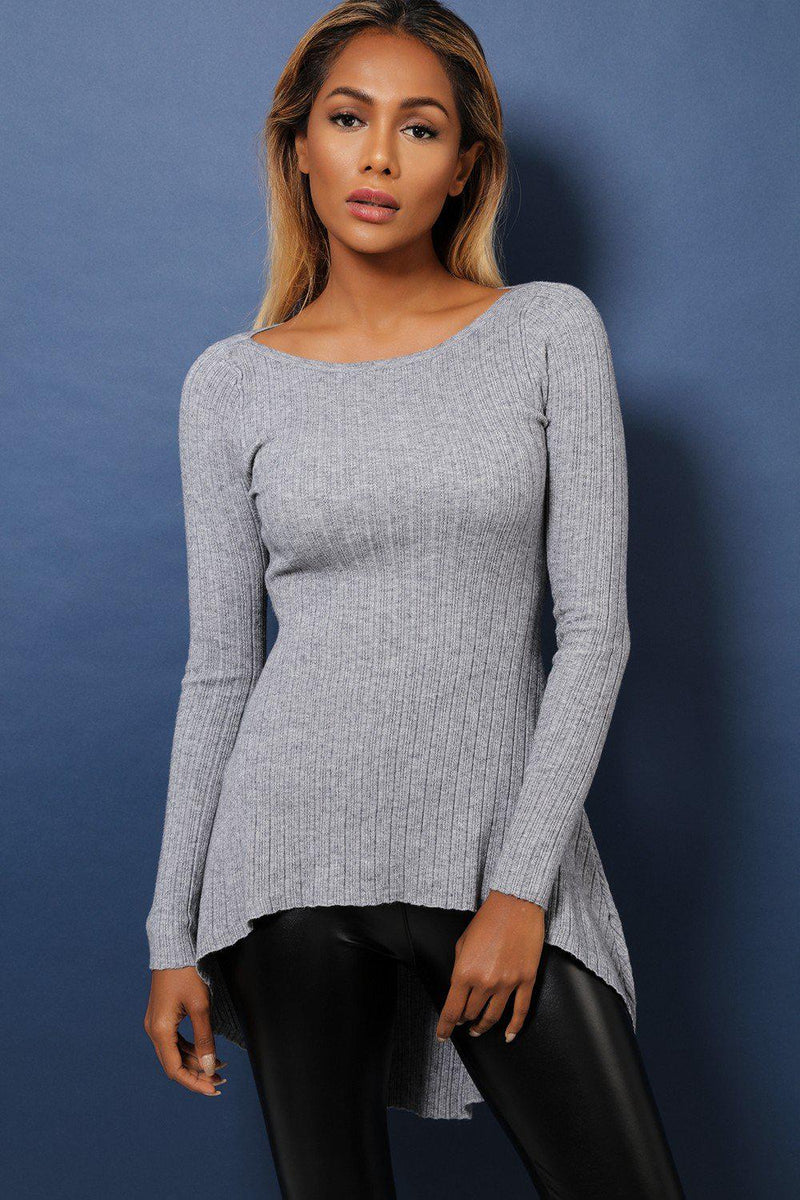 Grey Dip Hem Ribbed Soft Fabric Top - SinglePrice