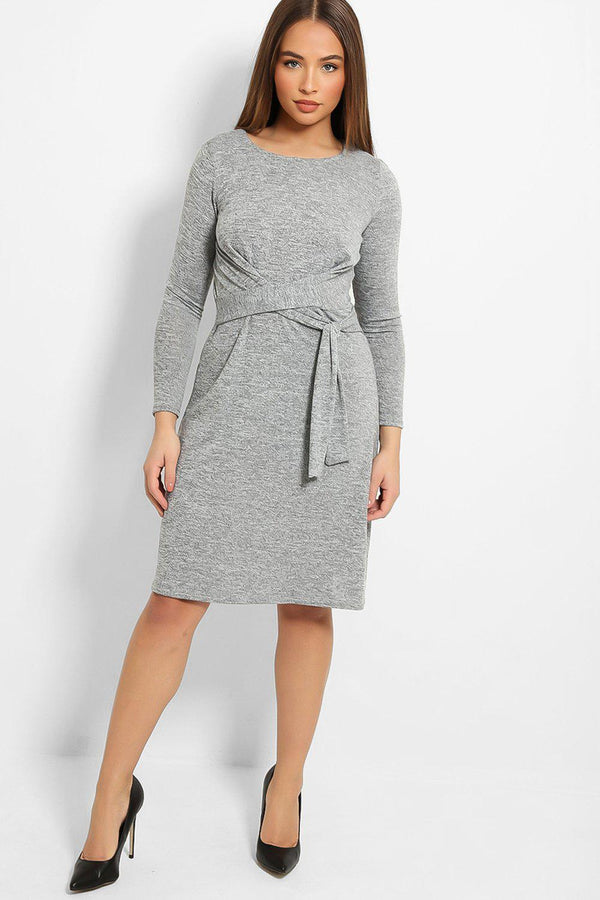 Grey Front Tie-Up A-Line Midi Dress