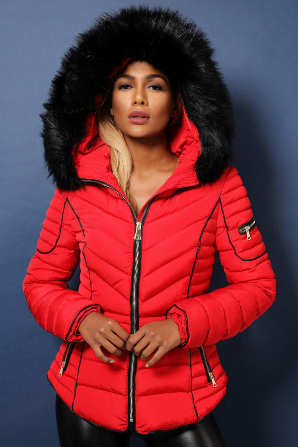 Red Faux Fur Trimmed Padded Quilted Winter Jacket-SinglePrice