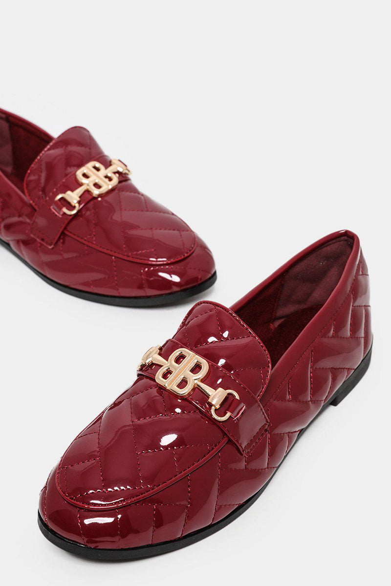 Gold Buckle Red Quilted Patent Loafer Flats-SinglePrice