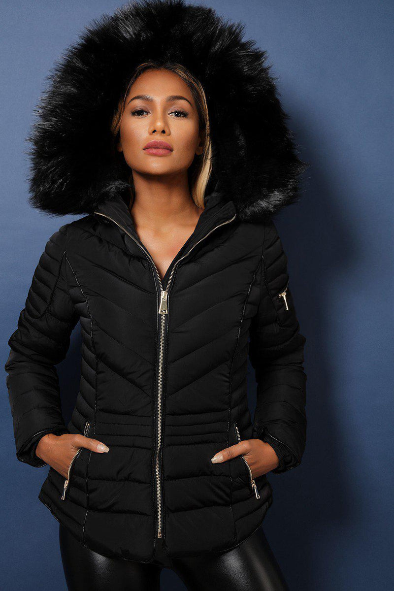 Black Faux Fur Trimmed Padded Quilted Winter Jacket - SinglePrice