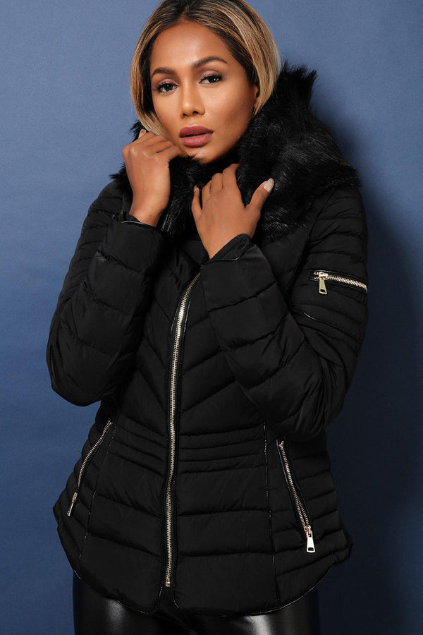 Black Faux Fur Trimmed Padded Quilted Winter Jacket-SinglePrice