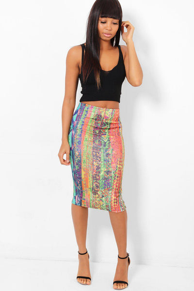 Rainbow Print Midi Pencil Skirt-SinglePrice