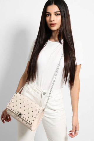 Cream Quilted Studded Front Clutch Bag