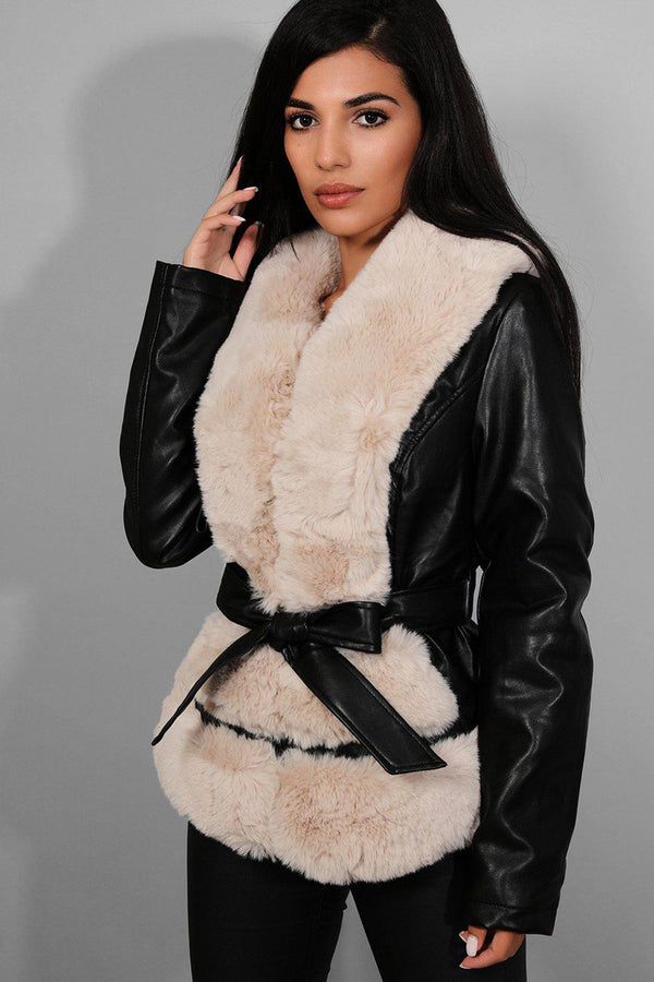 Apricot Faux Fur Trims Waist Belt Black Vegan Leather Jacket - SinglePrice