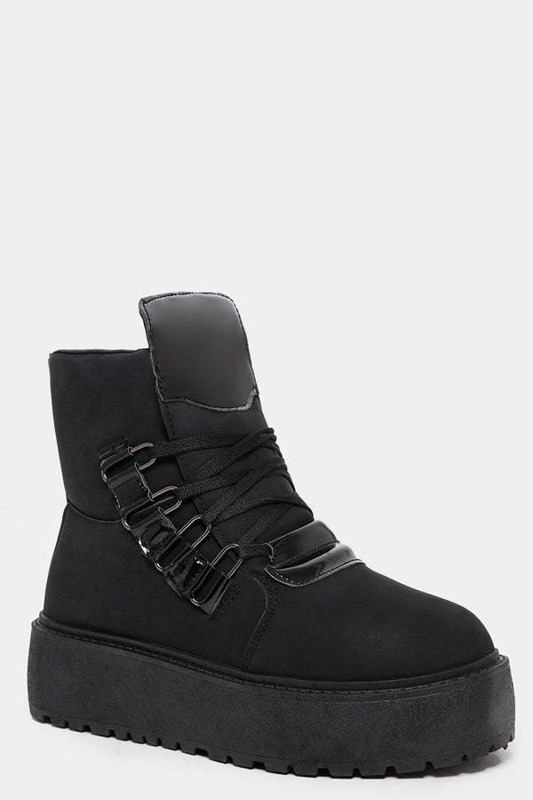 Black Chunky Flatform Tall Boots - SinglePrice