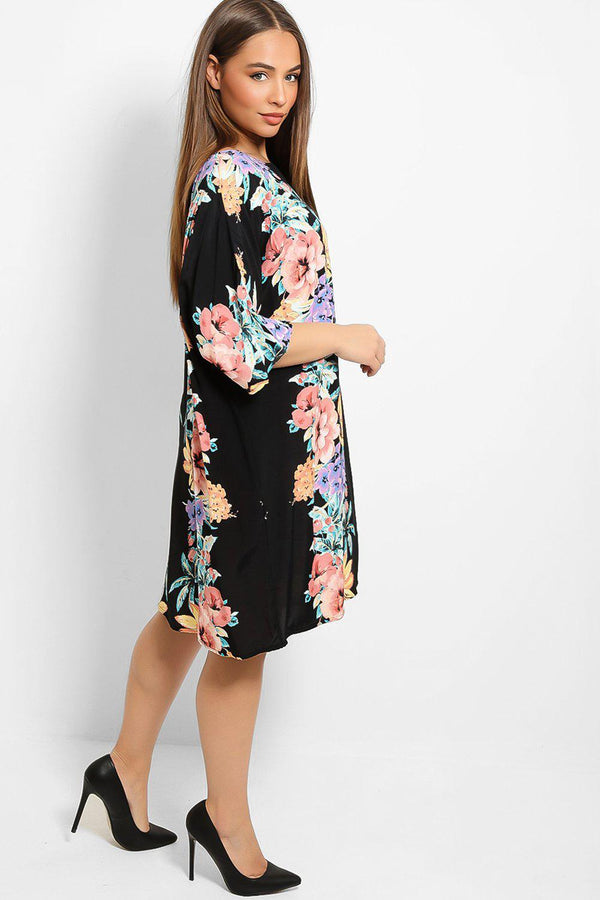 Black Floral Stripe Print Relaxed Fit Dress