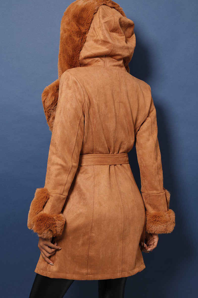 Super-Soft Faux Fur Trimmed Vegan Suede Camel Coat - SinglePrice