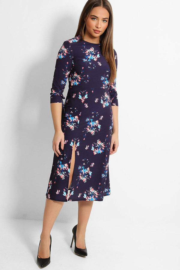 Purple Floral Print Thigh Split Midi Dress