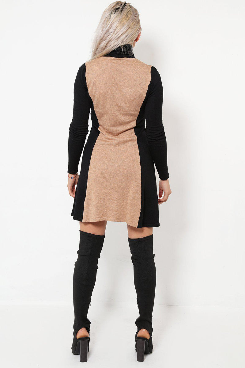 Turtle Neck Beige Panel Knitted Dress - SinglePrice