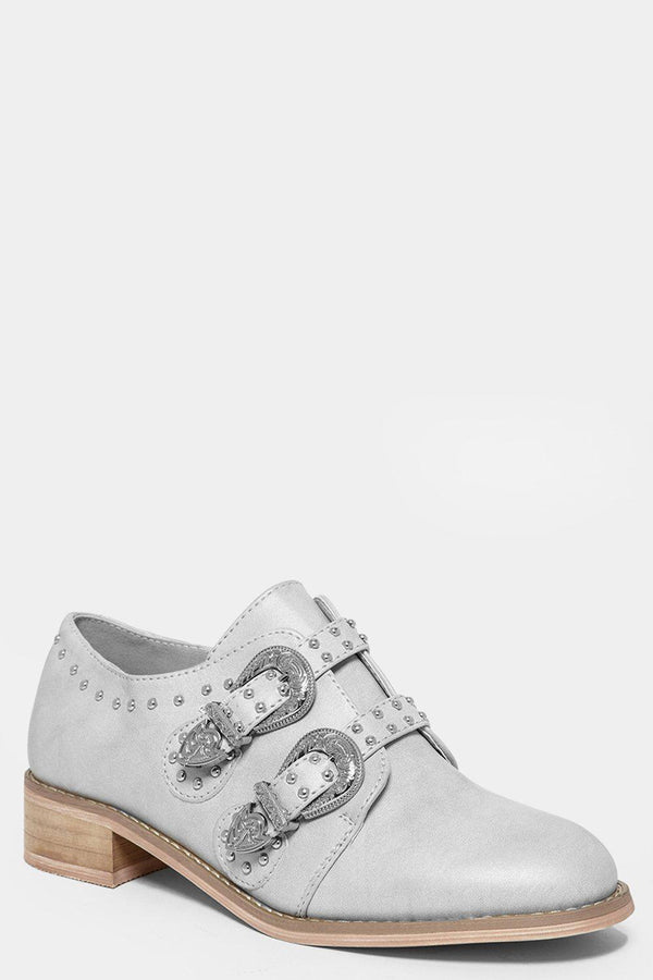 Silver Vintage Buckles Flat Shoes-SinglePrice