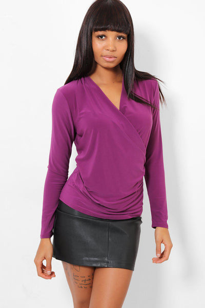 Purple Stretchy Wrap Top-SinglePrice