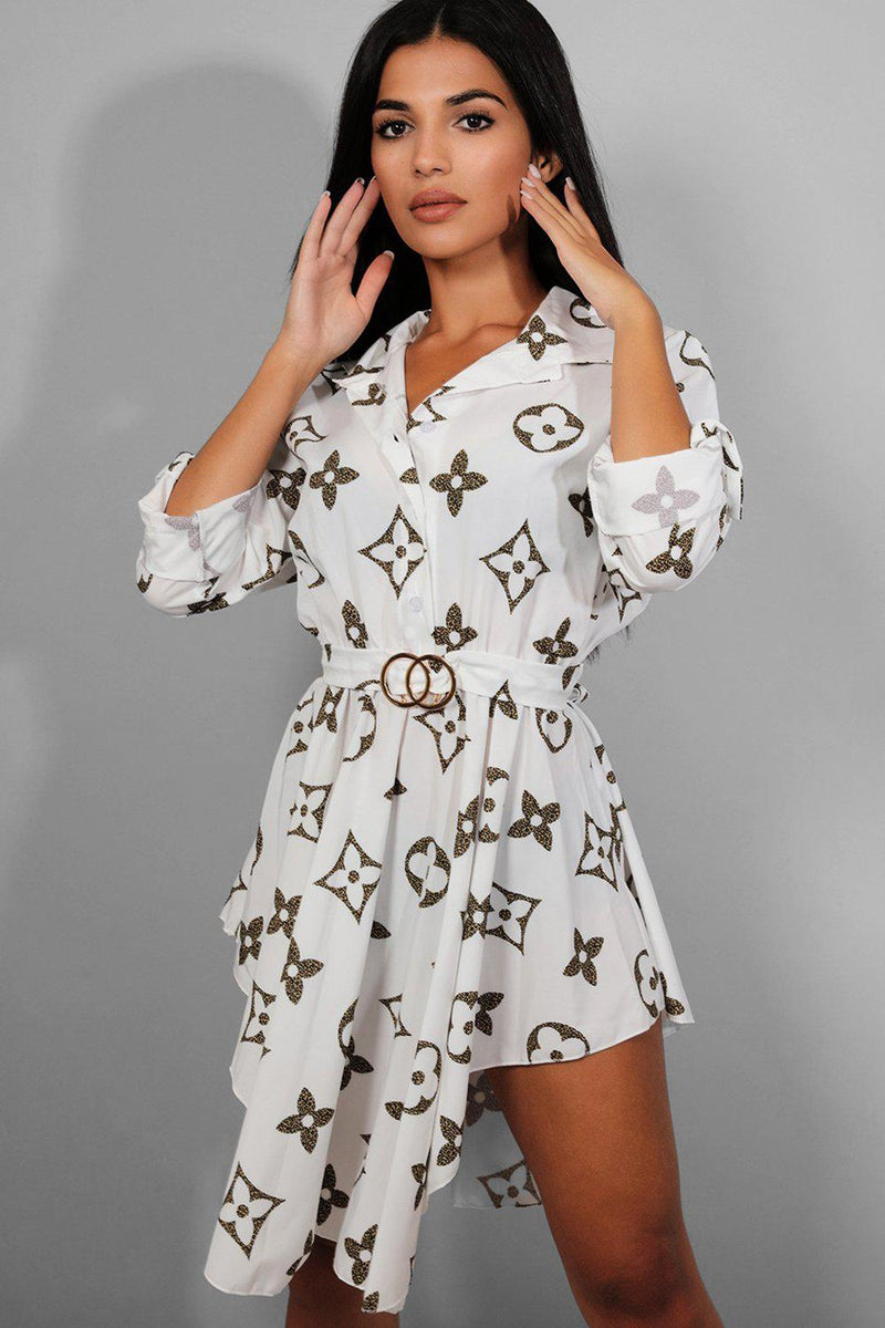 Floral Print Asymmetric Hem White Shirt Dress - SinglePrice