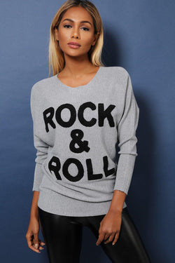 Grey Rock'n'Roll Batwing Soft Knit Top - SinglePrice