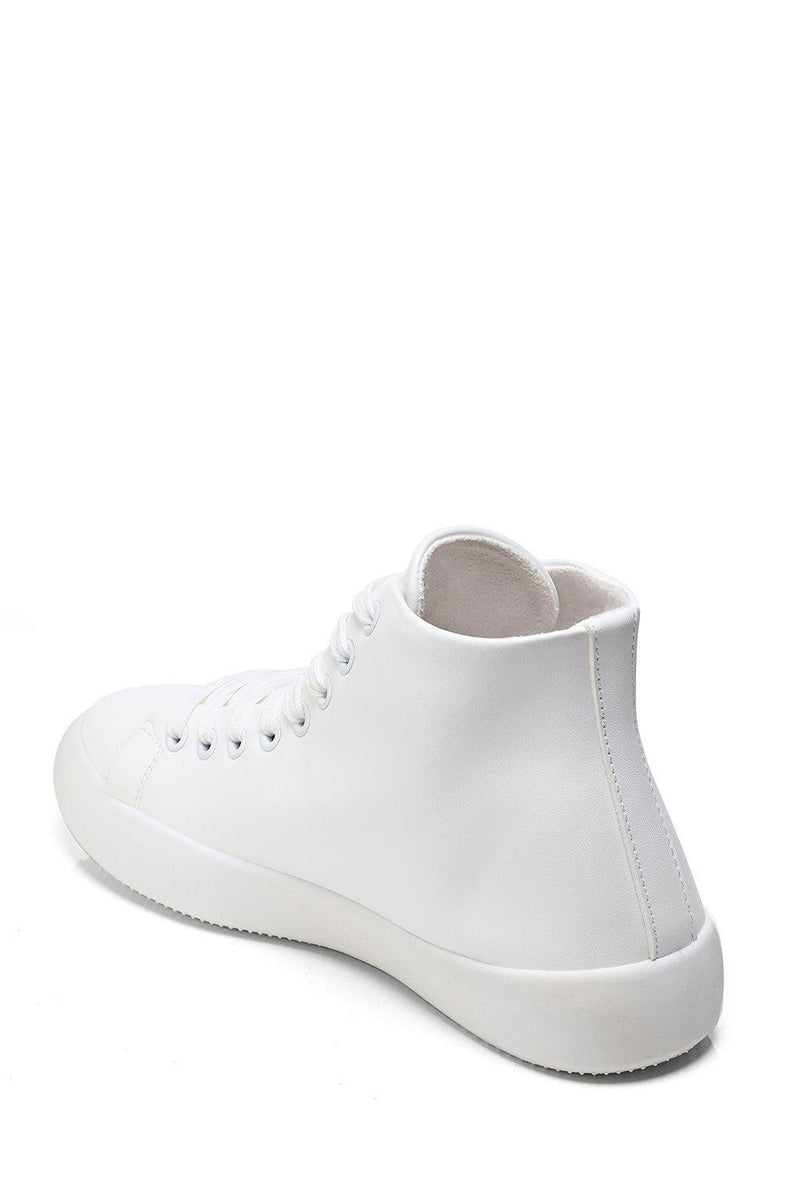 White Vegan Leather Hi Trainers-SinglePrice
