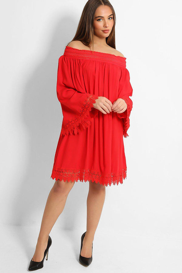 Solid Red Crochet Lace Trims Off Shoulder Dress