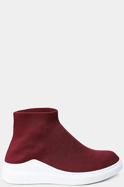 Burgundy Stretch Sock Hi Trainers-SinglePrice