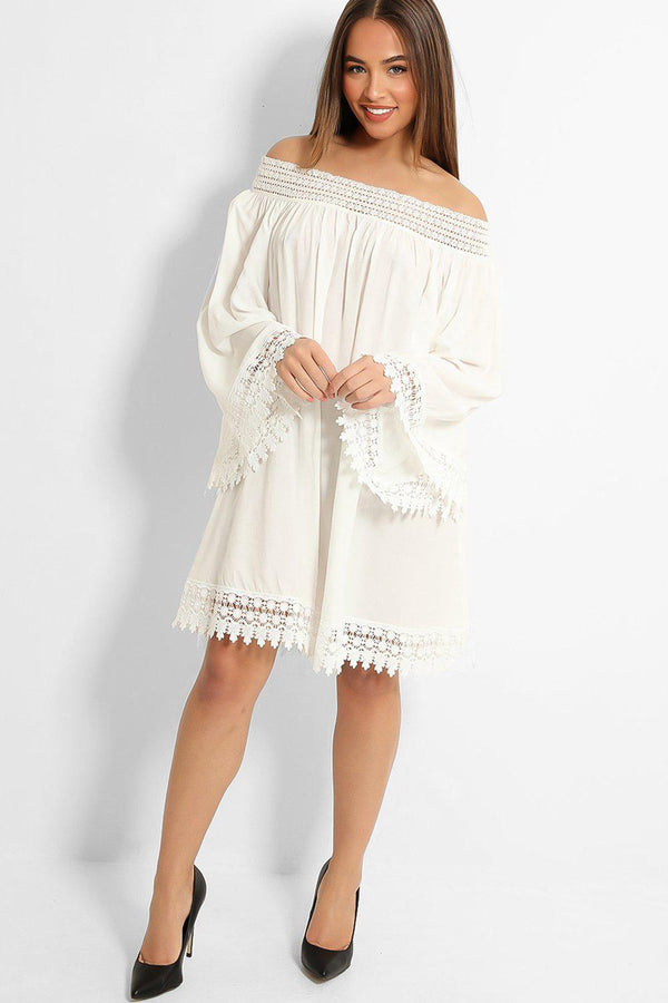 White Crochet Lace Trims Off Shoulder Dress