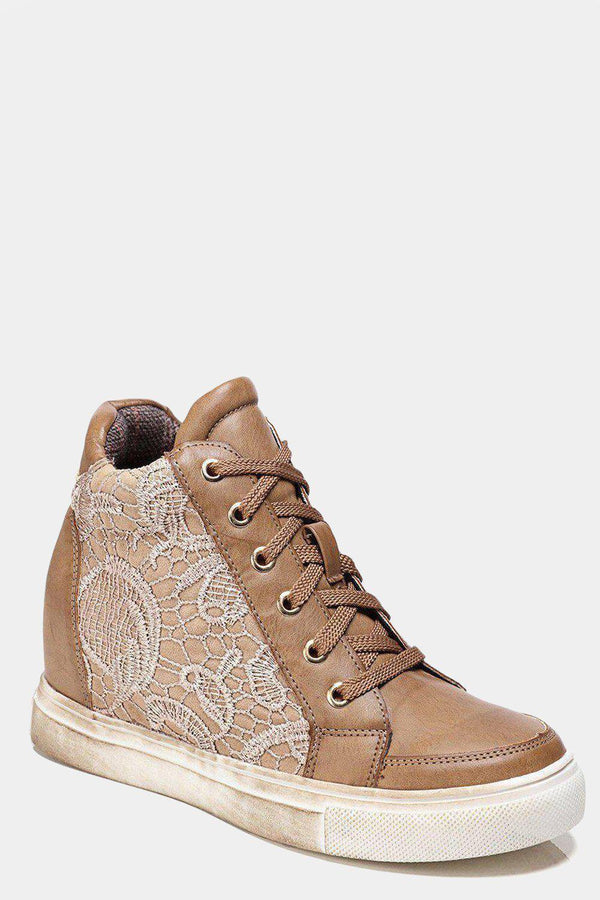 Camel Lace Detail Hidden Wedge Trainers - SinglePrice