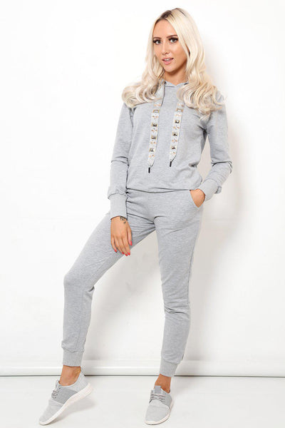 Jewelled Straps Grey 2 Piece Tracksuit-SinglePrice
