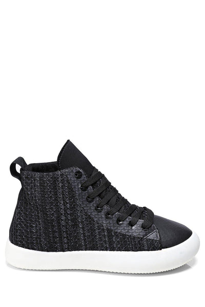 Black Faux Snake Skin Hi Trainers-SinglePrice