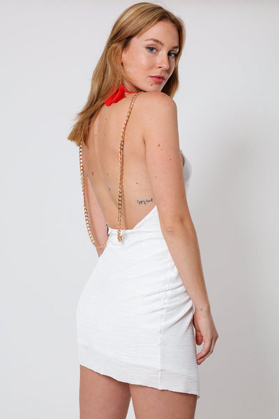 Open Back Pleated & Draped White Mini Dress-SinglePrice