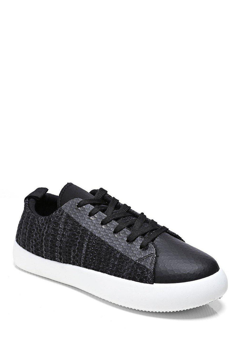 Black Faux Snake Skin Low Trainers - SinglePrice
