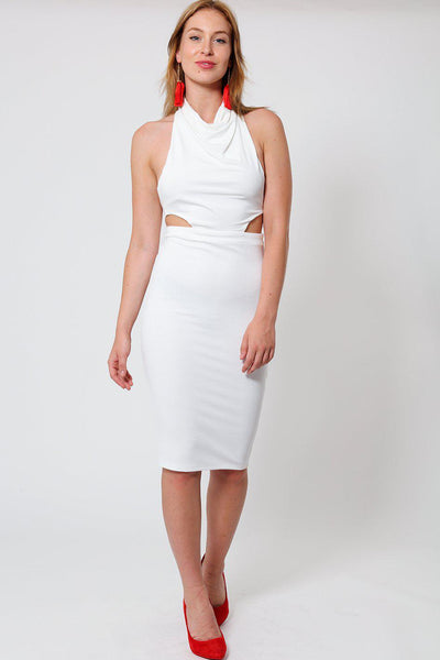 Open Back White Midi Dress-SinglePrice