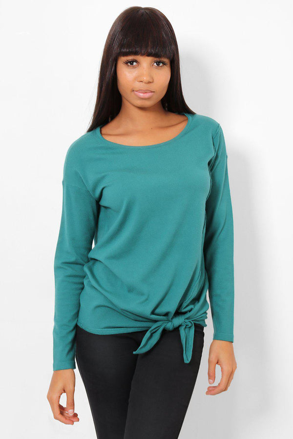 Tie Up Side Soft Knit Green Jumper - SinglePrice