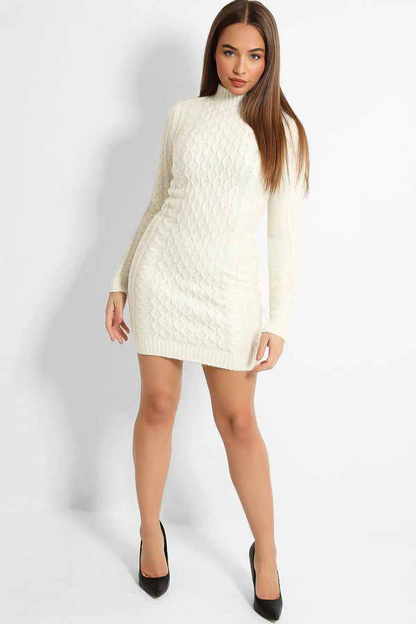 Cream Rhomb Knit High Neck Jumper Dress-SinglePrice