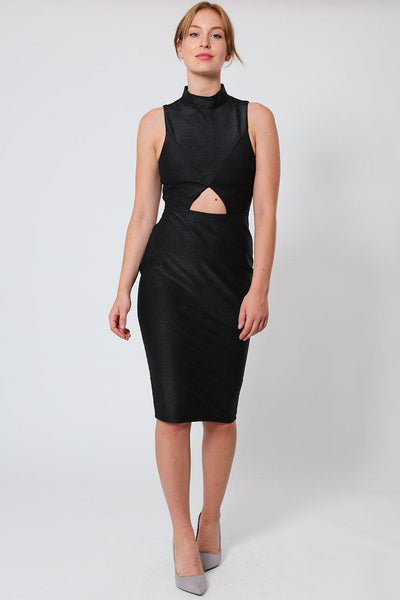 High Neck Cut Out Detail Bodycon Dress-SinglePrice