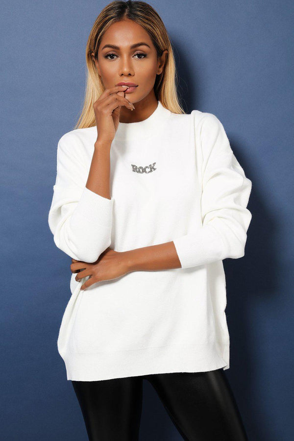 White Super-Soft Knit Oversized Embellished Rock'n'Roll Jumper-SinglePrice