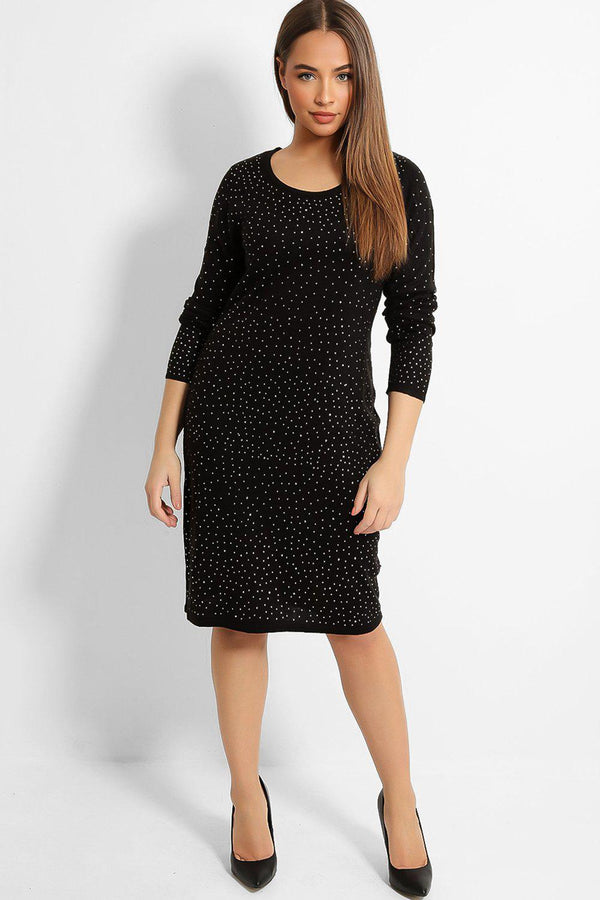 Black All Over Crystals Embellished Knitted Dress